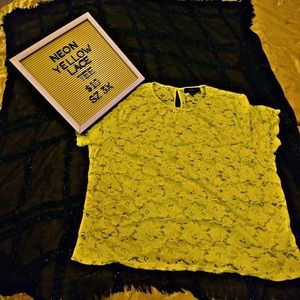 Plus Size Neon Yellow Lace Tee